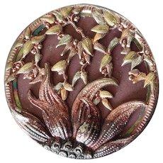 """Antique Victorian Tinted Metal Composition Button Art Nouveau Flower Motif 1 1/16"""""""