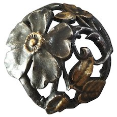 """Antique Openwork Art Nouveau Gilt and Silver Plated Metal Button Flowers Hedge Rose 13/16"""""""