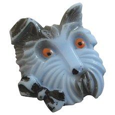 "Vintage Art Deco Figural Scotty Dog Czech Glass Button 1 3/16"""
