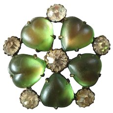 """Antique Czech Fancy Glass Art Nouveau Green and White Paste Metal Button Frosted Hearts 1 1/16"""""""