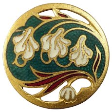 """Antique Art Nouveau Floral Champlevé Enamel Gilt Metal Button 13/16"""""""