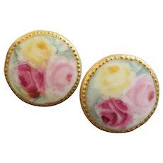 "Antique Victorian Pair of Handpainted Porcelain Lapel Stud Buttons Roses 13/16"""