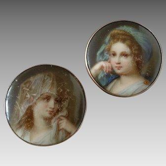 "Antique Victorian Pair of 14k Gold Porcelain Lapel Stud Buttons Austrian Marks Vienna Classical Woman's Head Veil 1 1/8"""