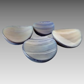 """Waves - 4 Chunky Vintage Mother of Pearl Buttons Dyed Blue Shaped as Waves 1 1/16"""" and 1 5/16"""""""