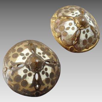 """Two Antique Victorian Champlevé Enamel Gilt Metal Buttons Cones 13/16"""""""