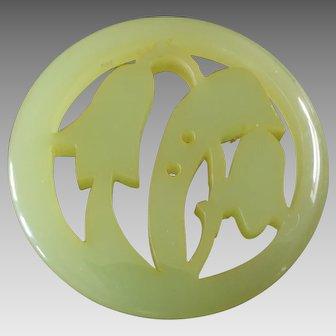"Large Art Nouveau Art Deco à-jour worked Casein Galalith Button Stylized Bellflower 1 15/16"""