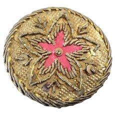 "Antique Georgian Foil Cannetille Passementerie Button Flower Star 1 1/8"""