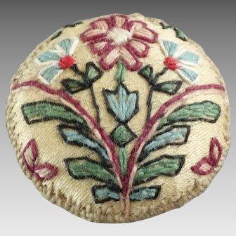 """Antique Vintage Passementerie Needlework Wool Linen Button Flowers 1 1/8"""" - unsure of age"""