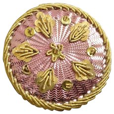 "Antique Georgian Foil Cannetille Passementerie Button lovely pink 1 1/8"""