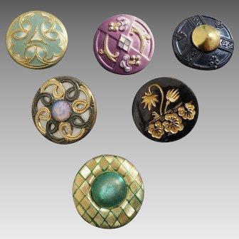 "Six Antique Victorian / Art Nouveau Lacquered Metal Opaline Glass Inlay Composition Buttons 7/8"""