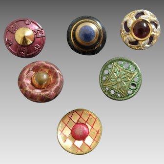 "Six Antique Victorian / Art Nouveau Lacquered Metal Glass Inlay Composition Buttons 11/16"""