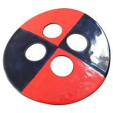 "X-Large Vintage Mid-Century Modernist Enamel Button 4 1/4"" Checkerboard Pattern"
