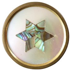 "Antique Victorian Mother of Pearl Inlay Metal Button Signed TWW 7/8"" Six Pointed Star"