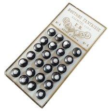 "Original Card of 24 Antique Victorian China Bulls Eye Gaiter Buttons 3/8"" France; Black & White"