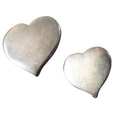 "Vintage Hans Hansen Denmark Mid-Century Modernist Sterling Silver Heart Buttons 11/16"" and 1/2""  Mother/ Daughter"