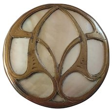 Antique Art Nouveau Openwork Brass Metal Mother of Pearl Inlay Button 1 1/16""