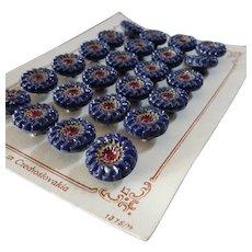 "A Card of 24 Vintage Czech Painted Blue Glass Buttons Flower Design 1/2"""