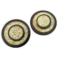 Two Large Vintage Art Deco Celluloid Glitter Buttons 1 5/16""