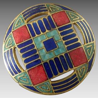 """Vintage Art Deco Champlevé Enamel Gilt Metal Button - a hair under 1 1/4"""""""