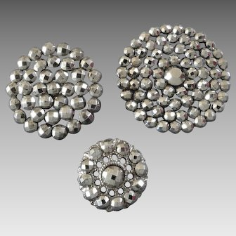 "Three Antique Victorian Cut Steel Buttons 5/8"" - 15/16"" - 1 1/8"""