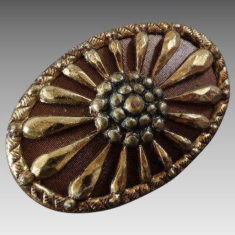 "Antique Victorian Oval Metal Composition Starburst Flower Button 1 1/16"""