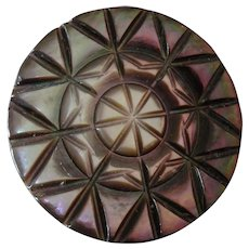 Large Antique Victorian Carved Mother of Pearl Button Star Pattern 1 3/8""