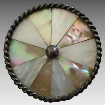 """Large Antique Victorian Inlaid Mother of Pearl Metal Button - a hair under 1 5/16"""""""