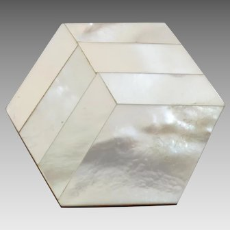 "Large Vintage Art Deco Hexagonal Mother of Pearl Bakelite Button 1 7/16"""