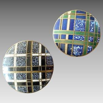 "Two Vintage Art Deco Champlevé Enamel Buttons Tartan Pattern 1 1/16"""