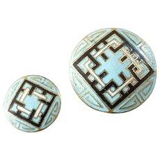"Two Vintage Art Deco Champlevé Enamel Gilt Metal Buttons Geometric Pattern 1/2"" and 7/8"""