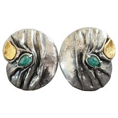 Perli Germany Midcentury Modernist 14k Gold Sterling Silver Green Stone Clip-on Earrings Signed