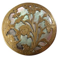 "Large Antique Victorian Openwork Etched Brass Mother of Pearl Inlay Button 1 7/16"" Roses Flowers"