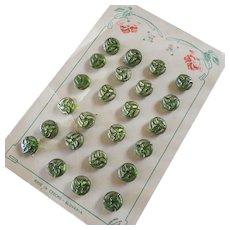 """Original Card of 24 Vintage Art Deco Gilt Glass Buttons on Art Nouveau Card 5/16"""""""