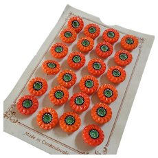 A Card of 24 Vintage Czech Painted Poppy Red Glass Buttons Flower Design 1/2""