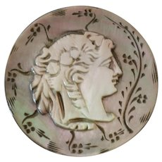 Antique Victorian Carved Mother of Pearl Button Woman's Head 1 1/16""