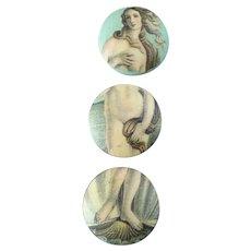 "Botticelli's Venus on Three Vintage Printed Fabric Fun Buttons 7/8"""