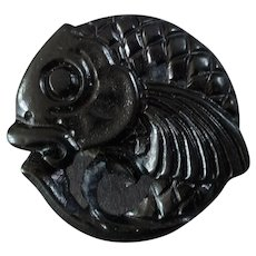 Large Vintage Art Deco Black Resin Oriental Fish Button Koi 1 1/4""