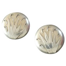 "Two Vintage Art Deco Sterling Silver Buttons 13/16"" Geometric Patterns"