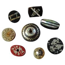 "8 Antique Victorian Composition Horn Silver Mother of Pearl Lacquer Steel Buttons 7/16"" to 7/8"""