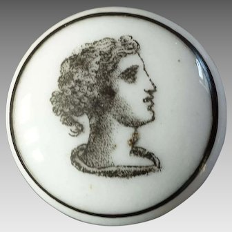 Antique Victorian Liverpool Transfer Porcelain Button Classic Head in Profile 7/8""