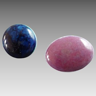 "Two Antique Arts and Crafts Blue Pink Ruskin Pottery Buttons 5/8"" and 7/8"" Not Signed"