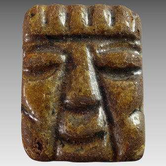 Large Vintage Couture Resin Tribal Mask Tiki Button Signed 1 1/2""