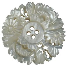 Antique Art Nouveau Carved Openwork Mother of Pearl Button Flowers 1 1/8""