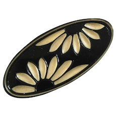 """X-Large Art Deco Black and White Celluloid Button Flowers 2 7/16"""""""