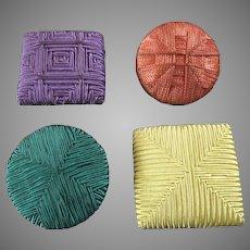 "4 Colourful X-Large Art Deco Passementerie Buttons 1 7/8"" to 2 3/4"""