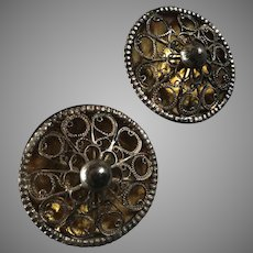 """Two Large Antique Victorian Silver Plated Gilt Filigree Buttons Traditional Costume Signed 1 5/16"""""""