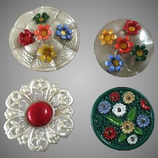 """4 Vintage Colourful Art Deco Celluloid Buttons 1 1/16"""" to 1 5/16"""""""