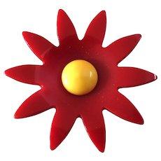 """Large Art Deco Starburst True Bakelite Red Flower Button 1 15/16"""""""