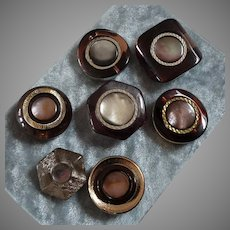 """Seven Large Vintage Italian Couture Lucite Acrylic Mother of Pearl Buttons 1 1/16"""" to 1 1/2"""""""