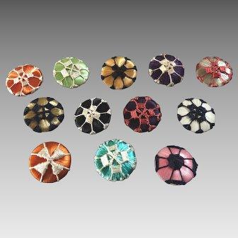 "12 Colourful Vintage Art Deco Fine Silk Thread Passementerie Buttons 11/16"""